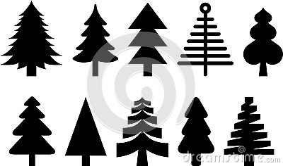 Silhouetted Christmas trees