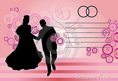 Silhouetted couple on pink