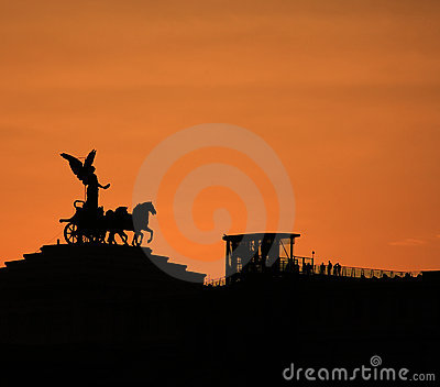 Silhouetted statue