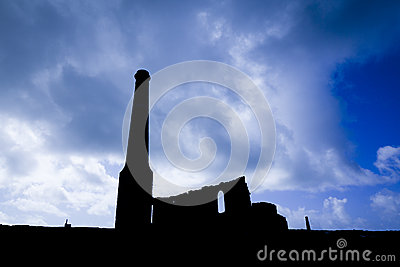 Silhouetted Tin Mine Buildings
