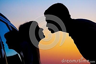 Silhouetten van het kussen van mensen royalty vrije stock for Waarom kussen mensen