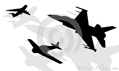 Silhouettes of aircrafts