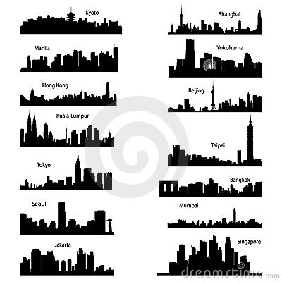 silhouettes of Asian cities