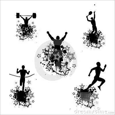Silhouettes of the athletes