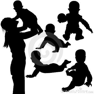 Free Silhouettes - Baby 3 Royalty Free Stock Image - 2059816