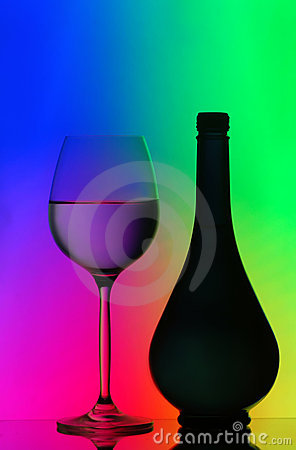 Silhouettes of bottle and wine glass
