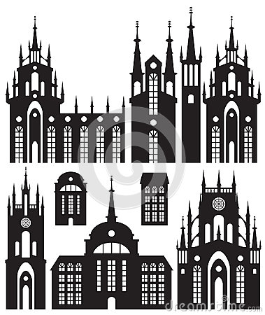 Silhouettes of buildings