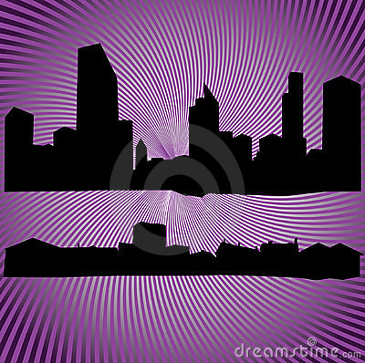 silhouettes of buildings and houses