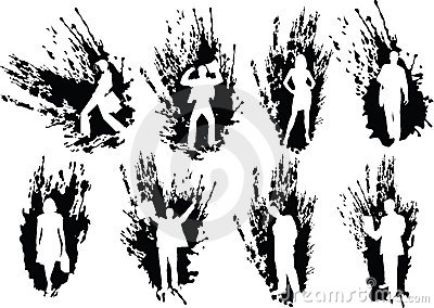 Silhouettes business people in