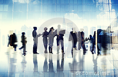 Silhouettes of Business People Inside the Office