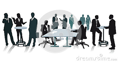 Silhouettes of business people at the office