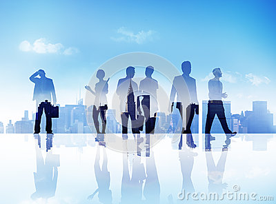 Silhouettes of Business People Walking Outdoors