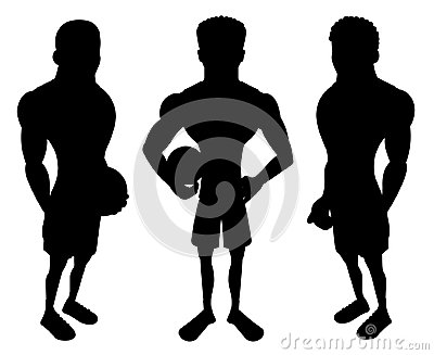 Silhouettes of cartoon basketball players