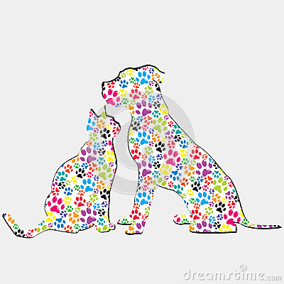 Silhouettes of cat and dog patterned in colored paws Vector Illustration