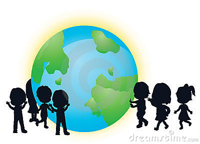 Silhouettes children and earth