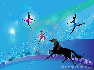 Silhouettes of circus trapeze artists and a horse