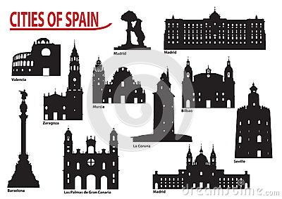 Silhouettes of cities in Spain
