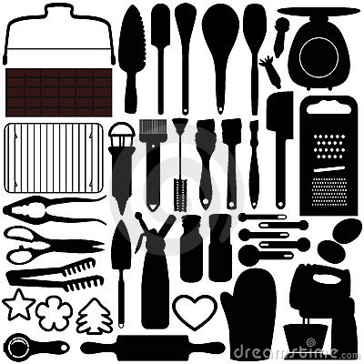 Silhouettes of Cooking, Baking Tools