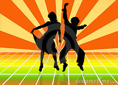 Silhouettes of dancing couple