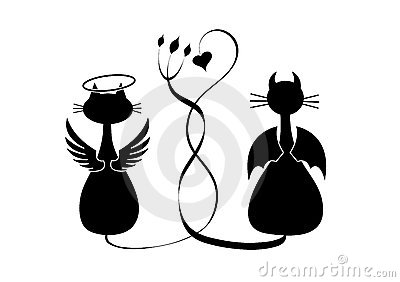 Silhouettes de deux chats. Ange et diable