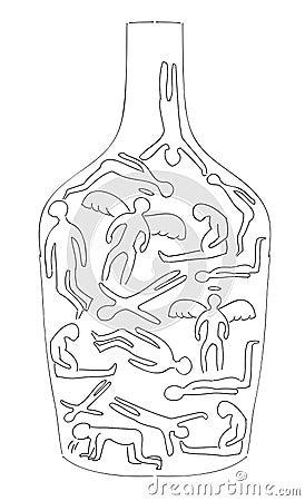 Silhouettes of drunken bodies.
