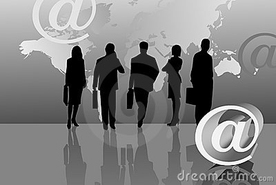 Silhouettes and E-mail Icon
