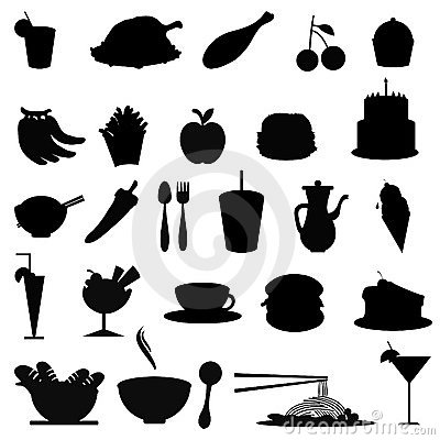 Free Silhouettes Food Items Stock Photography - 9298172