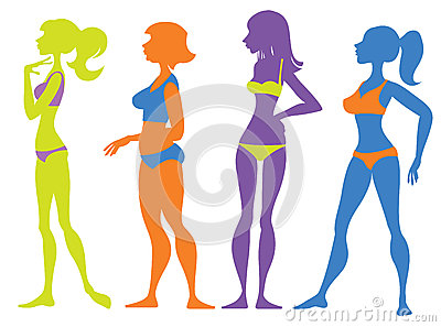 Silhouettes girl in swimsuit Vector Illustration