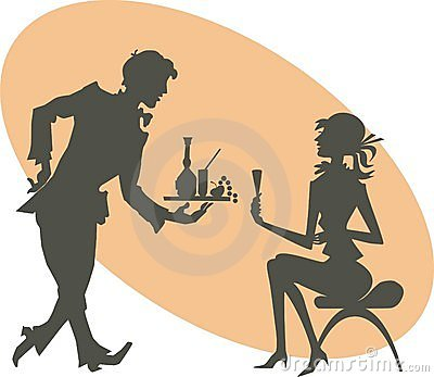 Silhouettes of the girl and waiter