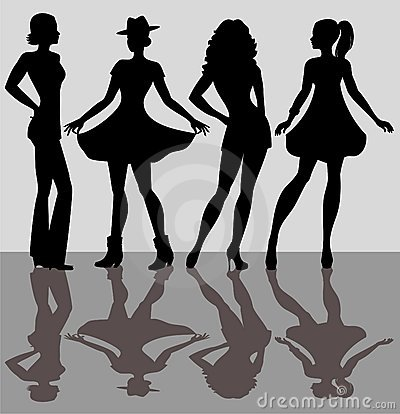 Silhouettes of the girls