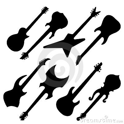 Silhouettes of guitars