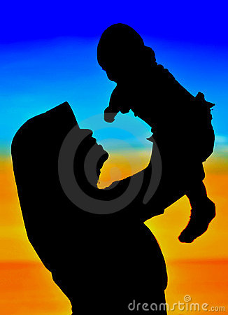Silhouettes of happy Mom and Baby