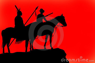 Silhouettes of a horse and riders