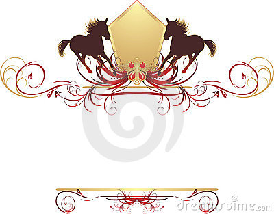 Silhouettes of horse on the stylish design