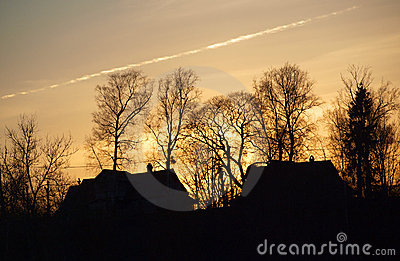 Silhouettes of houses and trees