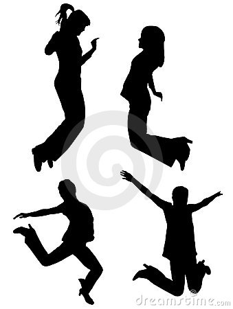 Silhouettes of jumping girls