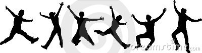 Silhouettes of jumping people