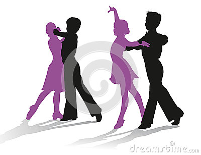 Silhouettes of kids dancing ballroom dance