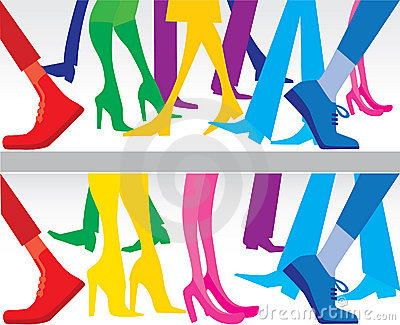 Silhouettes of legs