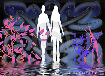 Silhouettes of man and woman