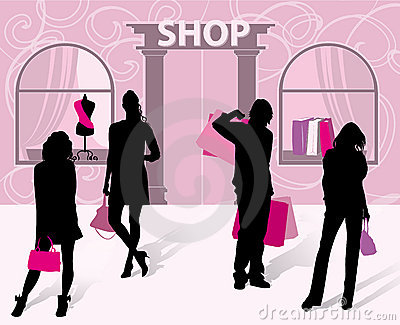 Silhouettes of men and women with shopping in hand