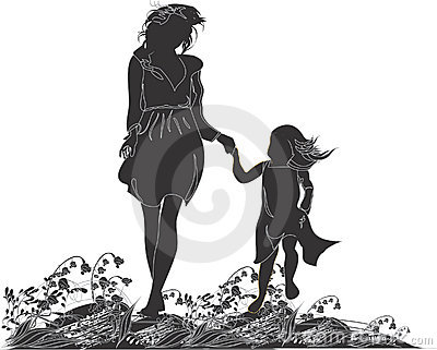 Silhouettes of mother and her daughter