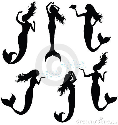 Free Silhouettes Of A Mermaid. Royalty Free Stock Image - 13724626
