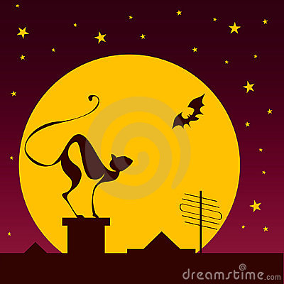 Free Silhouettes Of Black Cat And Bat Against Moon Royalty Free Stock Photos - 13766458