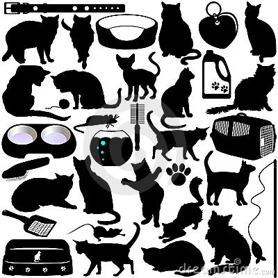 Free Silhouettes Of Cats, Kittens Stock Images - 22324874