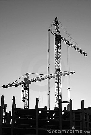 Free Silhouettes Of Elevating Cranes Royalty Free Stock Photos - 12201218