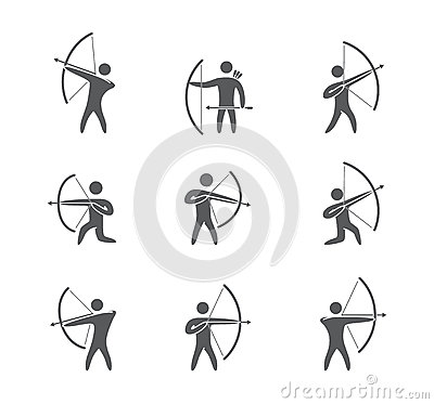 Free Silhouettes Of Figures Archer Icons Vector Set Royalty Free Stock Photos - 59174698