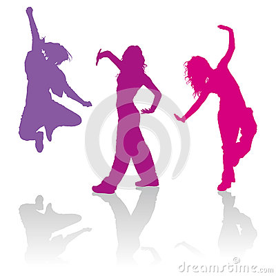 Free Silhouettes Of Girls Dancing Jazz Funk Dance Stock Photos - 44151223