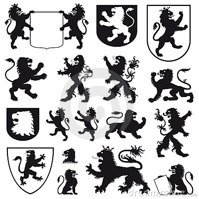 Free Silhouettes Of Heraldic Lions Stock Photo - 14328380