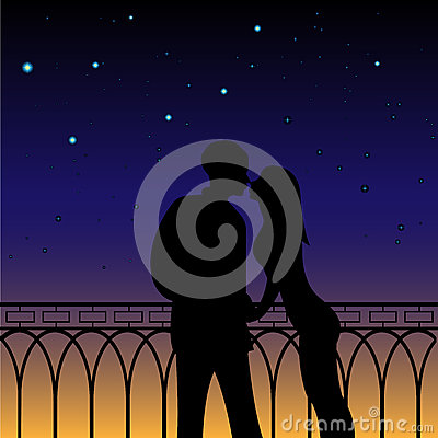 Free Silhouettes Of Loving Couple Stock Photo - 59093330